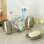 Stainless Steel Heart-Shaped Toothbrush Holder Soapbox And Cup