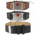 Stainless Steel Leather Medical ID Bracelets