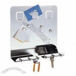 Stainless Steel Memo Board with Key Holder 25 x 8 x 27cm