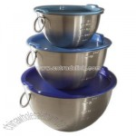 Stainless Steel Mixing Bowls Set of 3 with Blue Lids
