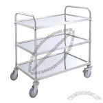 Stainless Steel Three-shelf Trolley with 5-inch TPR Casters and 140kg Capacity