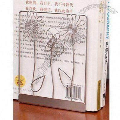 Stainless Steel Wire Bookends with Flowers Design