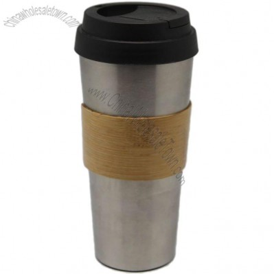 Stainless Steel and Bamboo Mug with Lid
