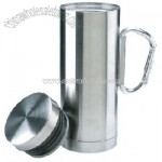 Stainless steel sports mug with carabiner