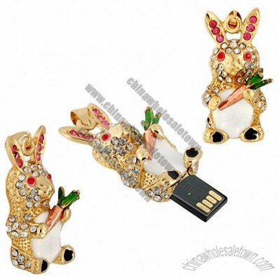 Standing Rabbit Shaped USB Flash Drive with Jewelry Surface