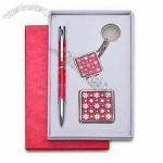 Stationery Gift Set, Includes Elegant Metal Pen, Fancy Key-chain and Charming Purse Hanger