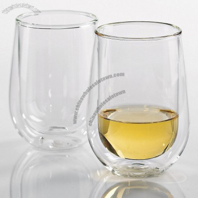 Steady-Temp Double Wall Chardonnay/Chablis Stemless Wine Glasses