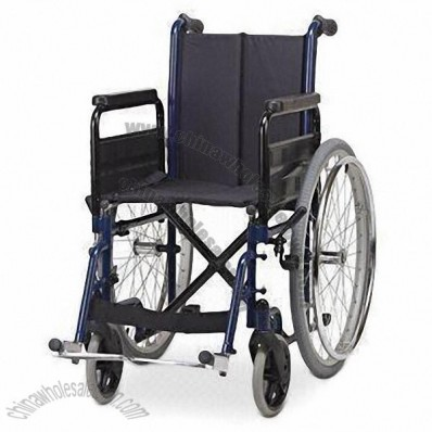 Steel Economic Wheelchair with Detachable Footrests, Single Cross Brace and 24-inch PU Tire