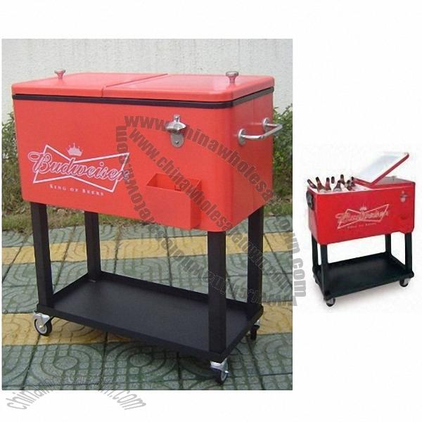 Steel Rolling Patio Cooler   Beverage Cart