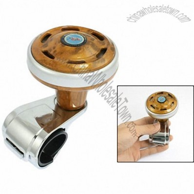 Steering Wheel Aid Knob Spinner Silver Tone Brown for Car Truck