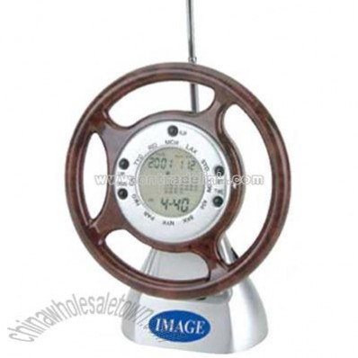 Steering wheel world time clock with FM scan radio