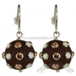 Sterling Silver Wood Resin Cz Ball Drop Earring - Brown