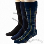 Steve Madden Legwear Men's 3 Pairs Plaid and Solid Socks Size 10-13
