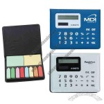 Sticky note memo caddy with calculator built-in to lid