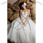 Strapless A-line Organza Bridal Gown, Asymmetrical Wrap at Waist