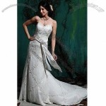 Strapless A-line Taffeta Gown with Sweetheart Neckline, Delicate Beading Along Bodice