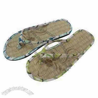 Straw Slippers, Made of Fabric Upper, Straw Insole, EVA Outsole