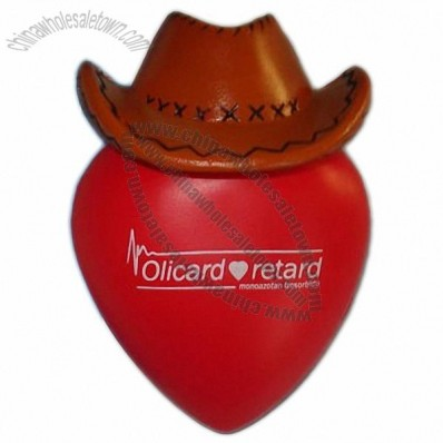 Stress Ball Heart with Cowboy Hat