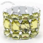 Stretch Metal Bangles, Made Of Alloy And Acrylic Stone