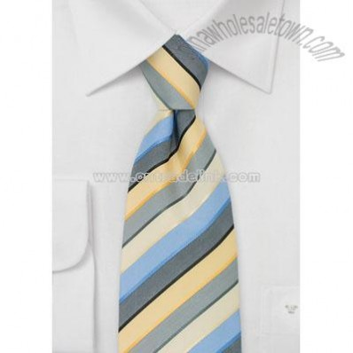 Striped Mens Ties Blue, Yellow, and Gray Striped Tie