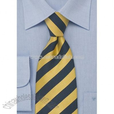 Striped Silk Necktie in Yellow and Navy