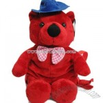 Stuffed backpack red bear
