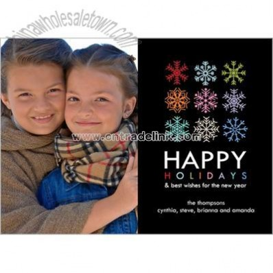 Stylish Snowflakes Black Holiday Card