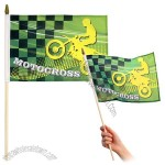 Sublimated Custom Hand-Held Flags of size 8 x 12 inches with wooden stick