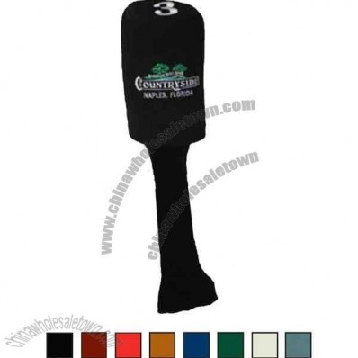 Suede and knit long neck head cover for golf club