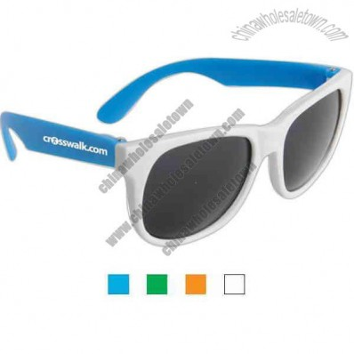Sunglasses With White Frames And Neon Colored Temples