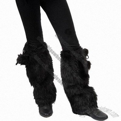Super Soft Faux Fur Leg Warmers with Fur Tassle