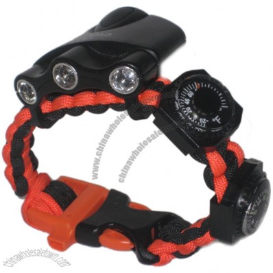Survival Bracelet Ultimate Band Whistle Buckle, Compass, Thermometer plus LED light