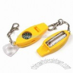 Survival Whistle with Keychain and Compass and Thermometer