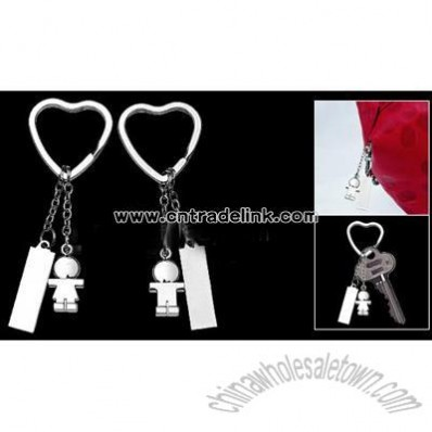 Sweet-Hearted Lovers' Pair Keychain Key Ring with Heart Shape