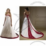 Sweetheart Empire Waistline Princess/A-line Skirt Embroidery Satin Bridal Gown
