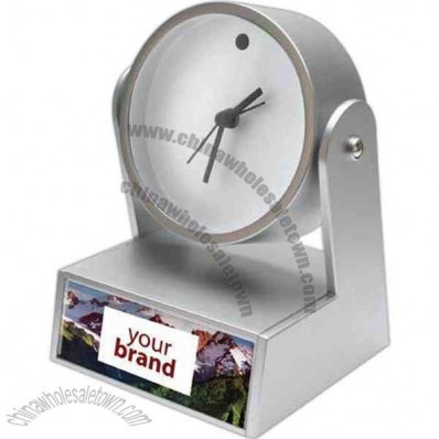 Swivel analog clock with weighted base