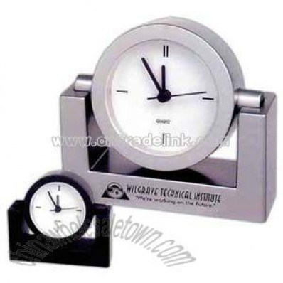 Swivel quartz analog desk clock