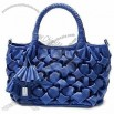 Synthetic Leather Handbag in Drape Design