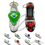 Synthetic Leather Shoe Shaped Keychain with Flag Logo
