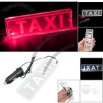 TAXI Crystal Board LED Neon Light Car Cigarette Lamp