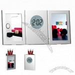Table Clock Pen Holder with Photo Frame