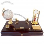 Table Stationery Set with Letter Opener, Globe, Magnifier, Ball-Point Pen, Clock, Drawer, Memo Name Card Holder, Clip Dispenser