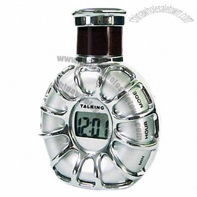 Talking Wine Bottle Shape Digital Clock with Real Time and Chime Report