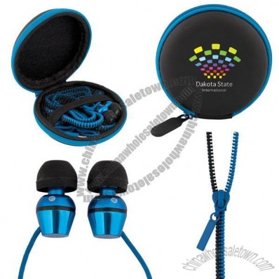 Tangle-Free Zipper Earphones with Pouch