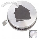 Tape measure 5' in brushed stainless steel case with house shape lid