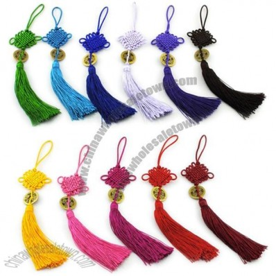 Tassel Bronze Tone Coin Accent Knitted Chinese Knot Ornament