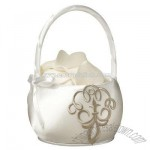 Taupe Scroll Flower Girl Basket