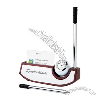 Tee Time Card Holder Pen Set With Clock