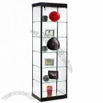 Tempered glass display cabinet with a locking hinged door