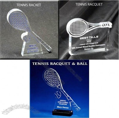 Tennis Racket Shaped Acrylic Award/Paperweight